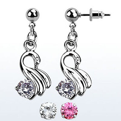 1-3PC Ball Shaped Steel Cartilage Daith Helix Ear Stud CZ Colored Crystal Swans