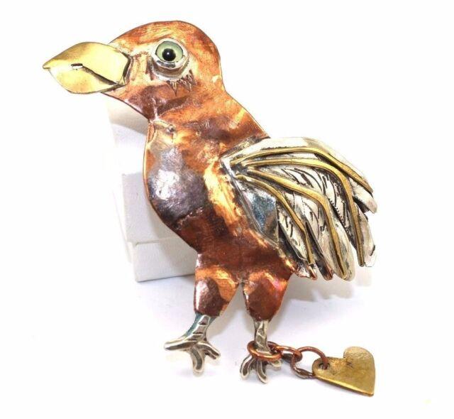"BIG 4"" Arts & Crafts Modernist BOLIN Sterling Silver Copper BIRD Pendant Pin"