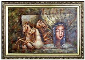 Framed-Young-Lady-with-Horses-Wall-Fresco-Hand-Painted-Oil-Painting-24x36in