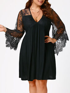 Plus-Size-Womens-Sexy-Lace-Panel-Flare-Sleeve-Evening-Party-Short-Mini-Dress