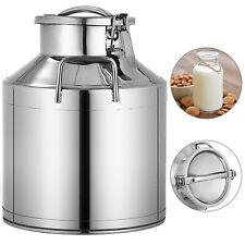 10l Stainless Steel Milk Can Wine Pail Bucket Jug Oil Barrel Canister Bottle Lid