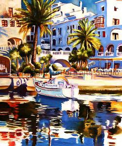 Resort-Spanish-Town-Original-Landscape-Oil-Painting-on-Canvas-Art-30-034-x-36-034