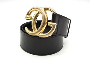 GUCCI-70-28-Vintage-Waist-mark-Wide-belt-GG-logo-buckle-Leather-Black-3789k