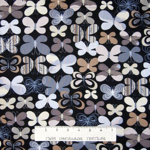 Benartex Kanvas Studio YARD Camo Mix Fabric Gray /& Cream Butterfly on Black