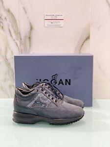 Dettagli su Hogan Interactive Donna In Camoscio Grigio Ricamo Casual Sneaker 35