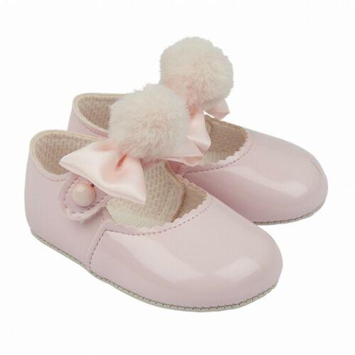 New Baby Girls UK Baypods Espagnol Style Pink Patent Pom Pom /& Bow Landau Chaussures