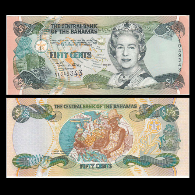 UNC/>QEII Lot 5 PCS 2001 Bahamas 1//2 0.5 Dollar 50 Cents P-68