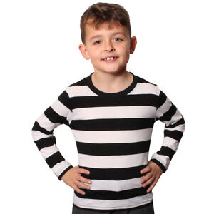 CHILD BLACK WHITE LONG SLEEVE STRIPED T-SHIRT COTTON TOP FANCY DRESS ... 7d1527c5d