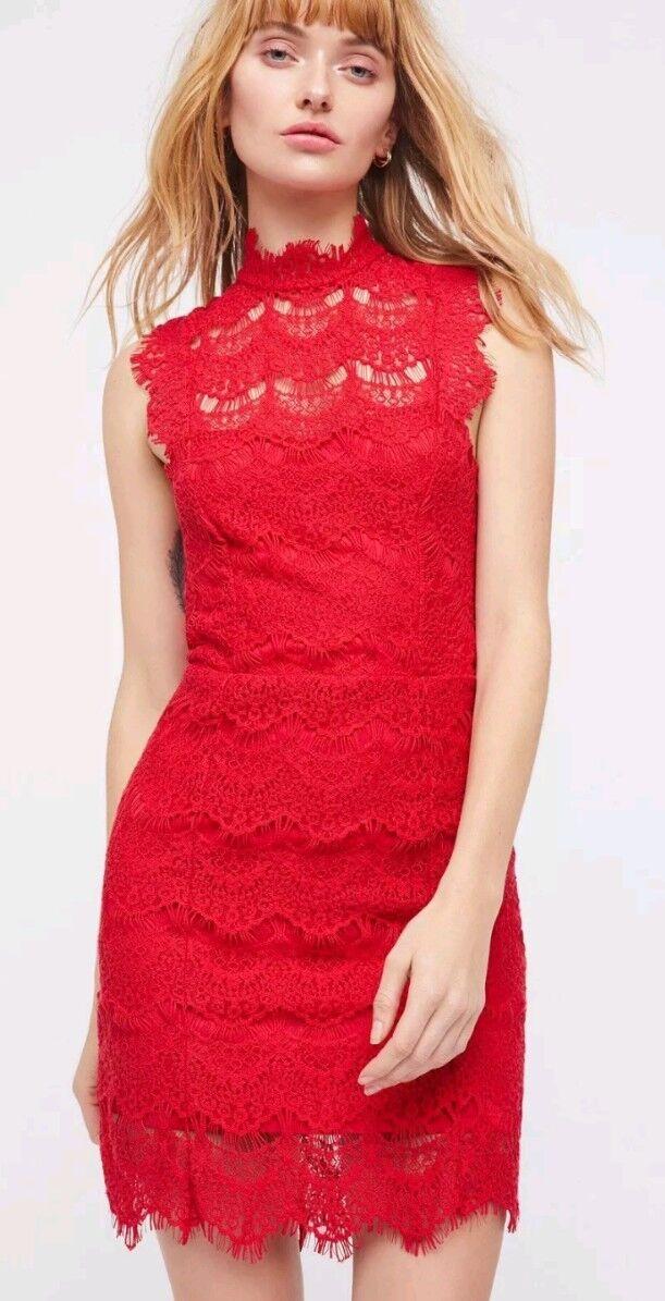 NWT Free People Dress Medium Daydream Lace Bodycon Slip Cherry Red Sz XS