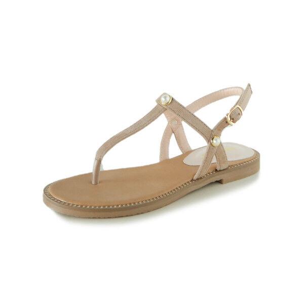 Sandali eleganti bassi  ciabatte beige leggeri comodi pelle sintetica  9951