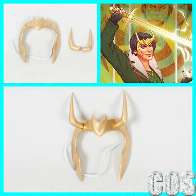 Loki Agent Of Asgard Cosplay Gold Handmade Mask With Horns Ebay