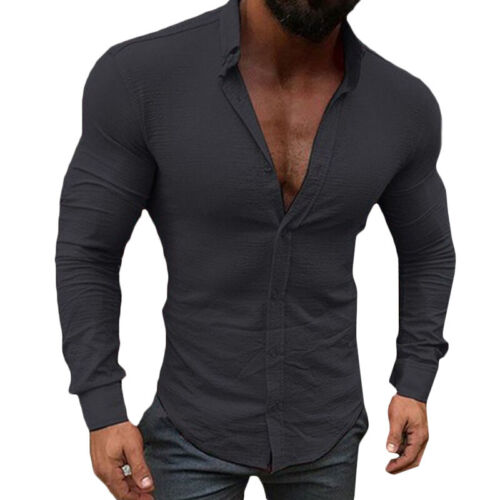 Mens Slim Fit Muscle Shirt Long Sleeve Casual Henley Buttons T-shirt Tops Henley