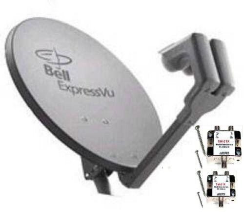 "NEW 20/"" SATELLITE Dish 500 BELL TV Express Vu 2 LNB /& 2 SW21 HD SWITCH NETWORK"
