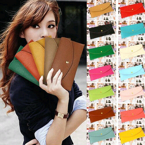 Korean Women Wallet Card Package Clutch Purse Faux Leather Envelope Candy Colour