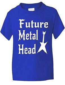 Futuro-Metal-Cabeza-Musica-Rock-Gracioso-Nino-Nina-camiseta