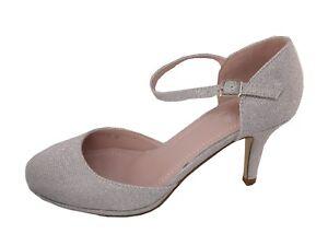 Zapatos de Novia Noche Tacón Plata Brillo Con Tiras 5015-20