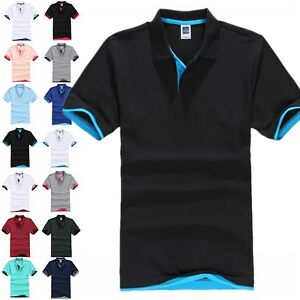 Mens-Short-Sleeve-Polo-Shirts-Golf-Plain-Classic-Fit-Tops-Blouse-T-shirt-Holiday
