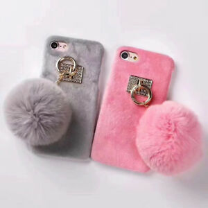 san francisco a50bd 30556 Lovely Phone Case Faux Fluffy Rabbit Fur Plush Ball Cover Back Skin ...
