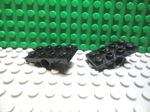 Lego 2 Black 2x4 Plate with Pin Hole on Bottom Center NEW