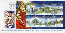 Kiribati 2008 FDC Christmas Churches of Tarawa 8v M/S Cover Architecture Stamps