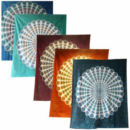 div Dekotuch Wandbehang Pfau Mandala Tagesdecke Farben 210 x 230
