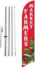 Farmers Market Advertising Feather Banner Swooper Flag Sign With Flag Pole