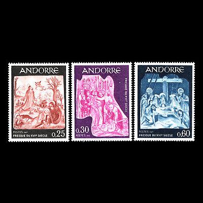 Sc 178/80 Mnh Das Fresko Gemälde Art Andorra 1967