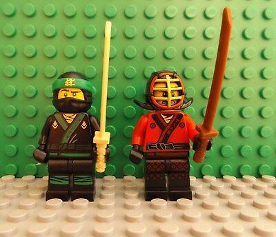 2 LEGO Brand New Ninjago Mini Figures Ninja Shamshir Weapon Helmet Kendo Style