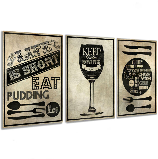 c270b3bae125 Kitchen Wall Art Pictures Framed Canvas Prints X 3 for sale online ...