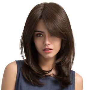 Dark Brown Women Shoulder Length Curly Synthetic Hair Wig Long Wave