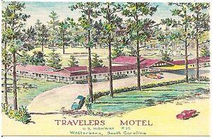 Travelers-Motel-in-Walterboro-SC-Artist-Walter-Bowers-Postcard