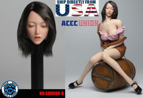 1/6 Asian Female Head Sculpt B Closed Eyes SUPERDUCK For PHICEN TBLeague U.S.A.