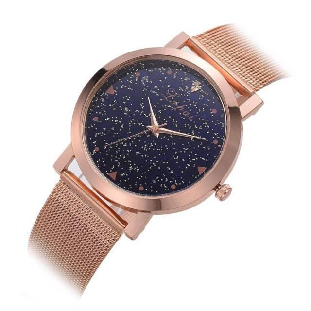 Fashion Women Casual Quartz Watches Simple Creative Star Dial Mesh Strap Watch o