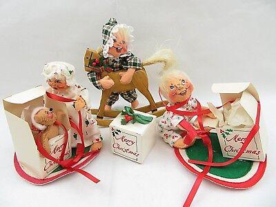"""Annalee Doll CHRISTMAS ROCKING /""""HORSE/"""" REINDEER on wood rockers"""