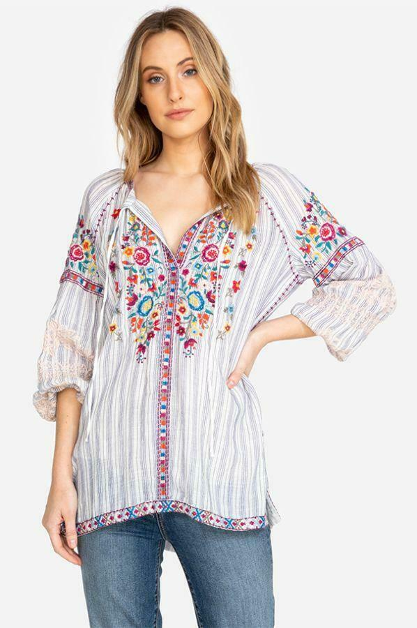 JOHNNY WAS  Embroiderot TUNIC Top ALLEGRA PEASANT Blouse Boho M L Linen