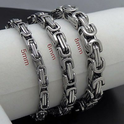MENS 5mm 6mm 8mm Silver Tone Byzantine Box Stainless Steel Chain Bracelet
