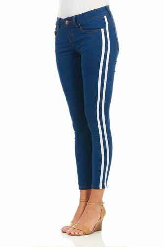 Cover Girl Side Striped Skinny Jeans for Women Juniors Plus Size Denim Washed