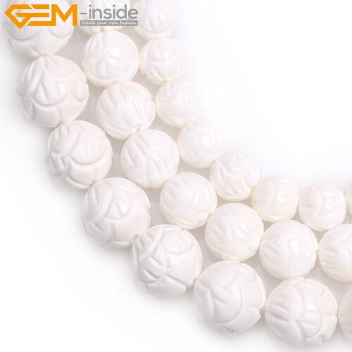 """Cáscara blanca natural Perlas Flor Tallada en granos flojos para joyería haciendo 15/"""" Hágalo usted mismo"""