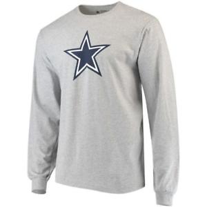 Dallas-Cowboys-Men-039-s-Grey-Logo-Premier-Long-Sleeve-T-Shirt