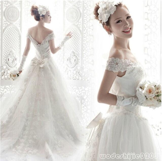 A-line Off Shoulder White Lace Wedding Bride Dress V Neck Floor Length Train C99