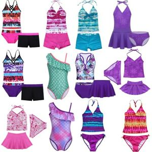 9690f6bad8 Girls Kids 2 Piece Halter Swimsuit Swimwear Bathers Tankini Swimmers ...
