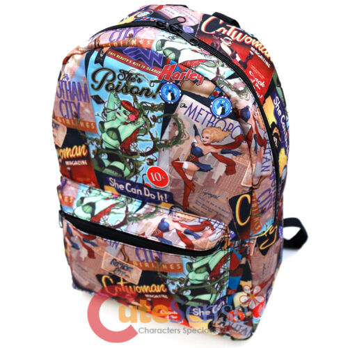 "DC Comics Women Large School Backpack 17/"" All Over Prints Bag Bat Grils Wonder"