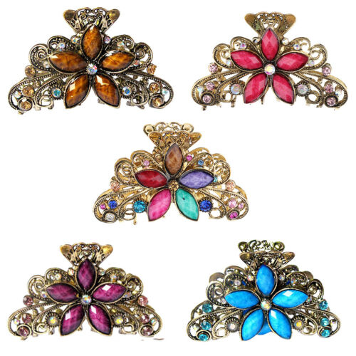 5 Pack Lady Antique Kristall Metall Haarspange Clamp Schmetterling  Klaue