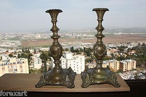 Pair-of-Louis-XIV-Brass-Candlesticks-c-1840-France-Antique-Rare-Gorgeous-37cm