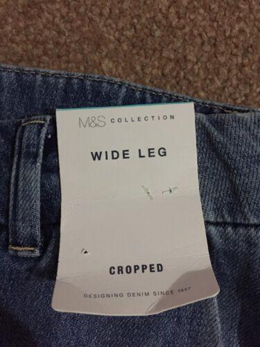M/&s Medium Indigo Cropped Wide Leg Pantalon Taille 14 Bnwt Gratuit Sameday Envoi