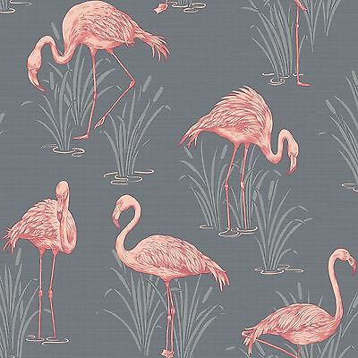 LAGOON FLAMINGO GREY CORAL WALLPAPER - ARTHOUSE VINTAGE 252603 ROOM DECOR