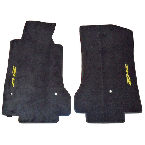 Black Floor Mat Carpet Set with Logo For Chevy Corvette ZHZ Convertible