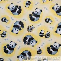 Boneful Fabric Fq Cotton Flannel Yellow Gray White Baby Panda Bear Paw Print