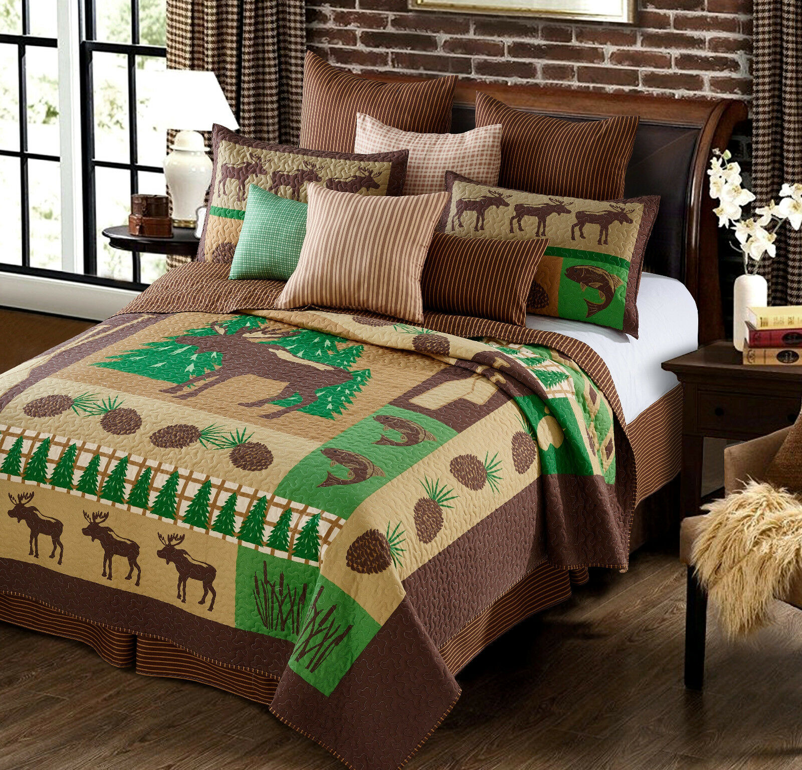 MOOSE CABIN Full   Queen QUILT SET   FISH LODGE MOUNTAIN GREEN BROWN PATCHWORK