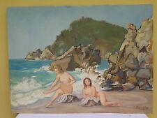QUADRO ANTICO DIPINTO OLIO PAESAGGIO MARINA MARE CON NUDO Antique painting